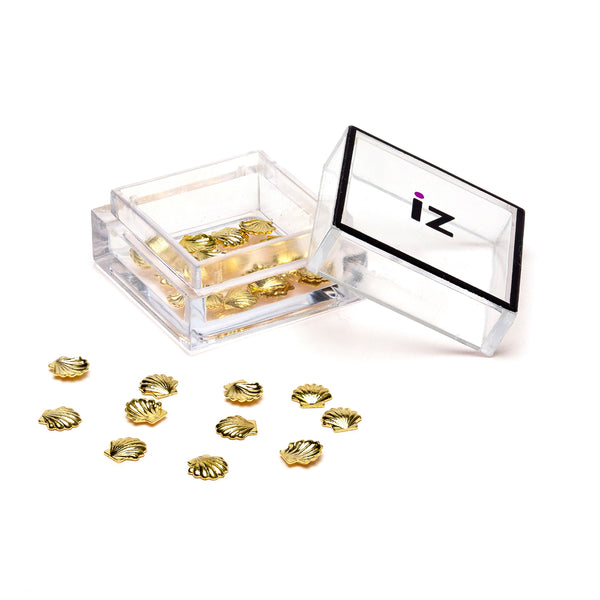 Medium Gold Shell Nail Gems 30pcs