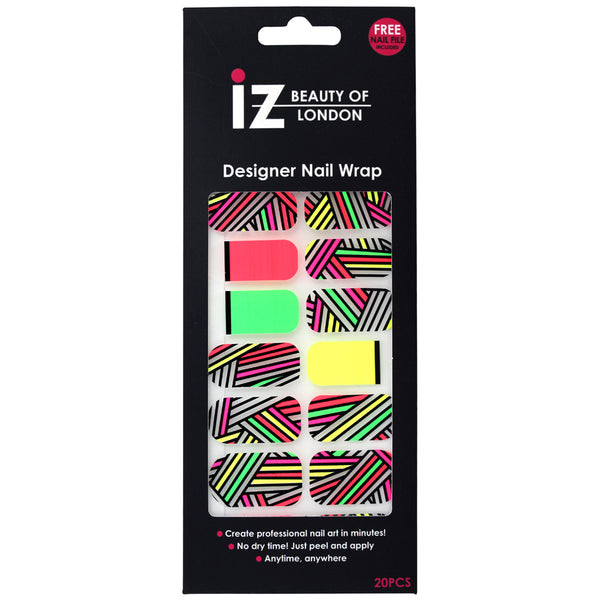 Neon Stripe Negative Space Nail Wraps