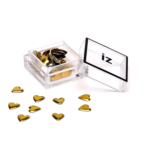 Gold Heart Nail Studs 30 pcs