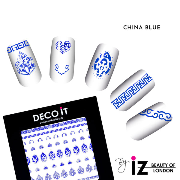 China Blue Pattern Nail Decals