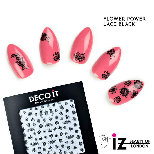 Flower Power Lace Black Nail Decals