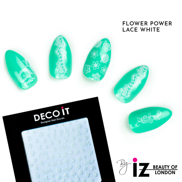 Flower Power Lace White Nail Decals