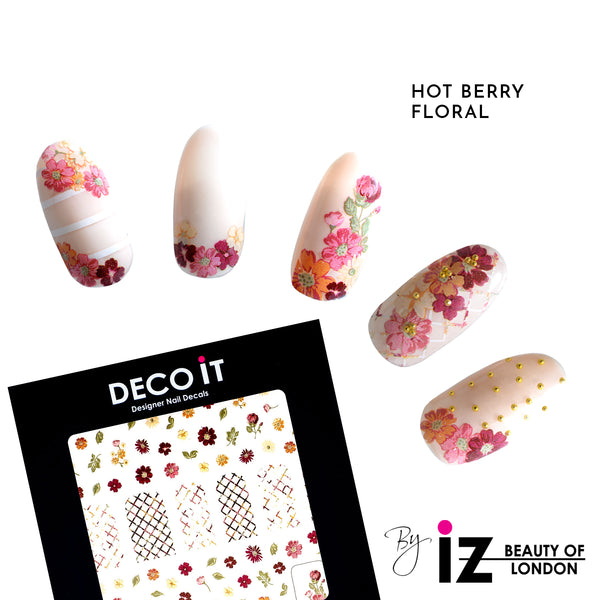 Hot Berry Floral Nail Decals