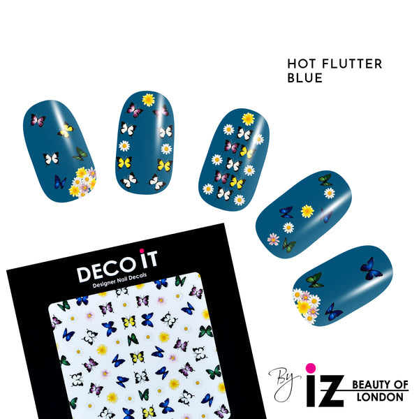 Hot Flutter Blue Nail Decals