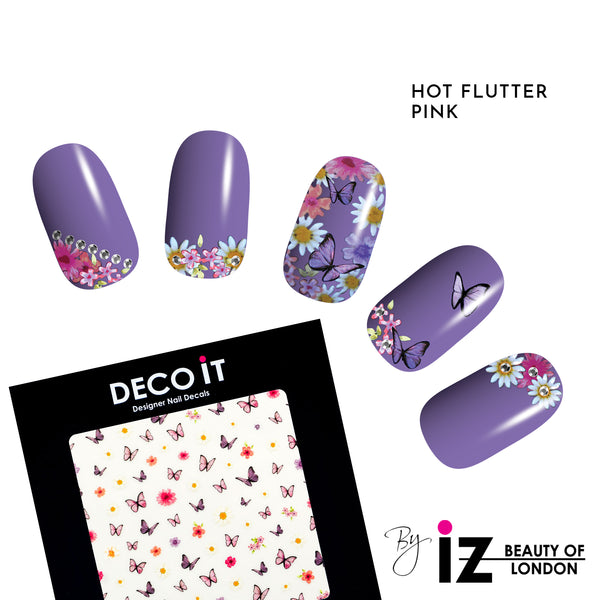 Hot Flutter Pink Nail Decals