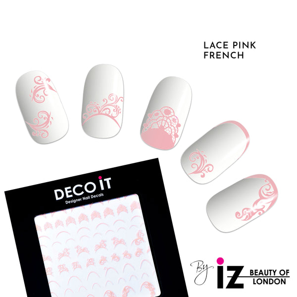 Lace Pink French Manicure Nail Decals