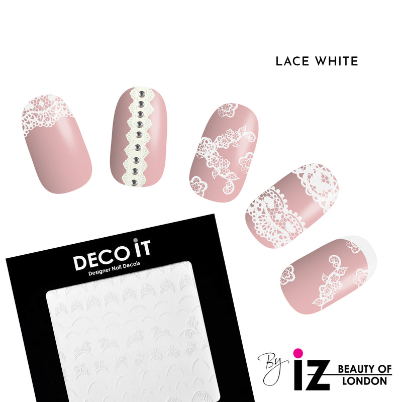 Lace White French Manicure Nail Decals