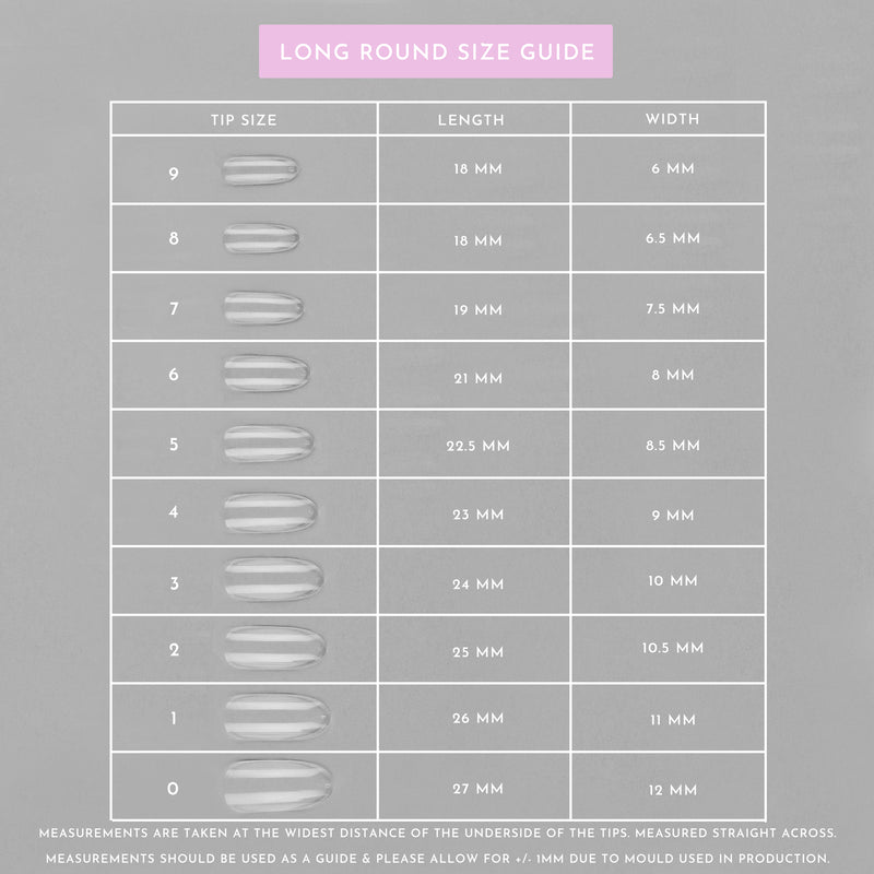 Clear Whole Nail Tips | Long Round