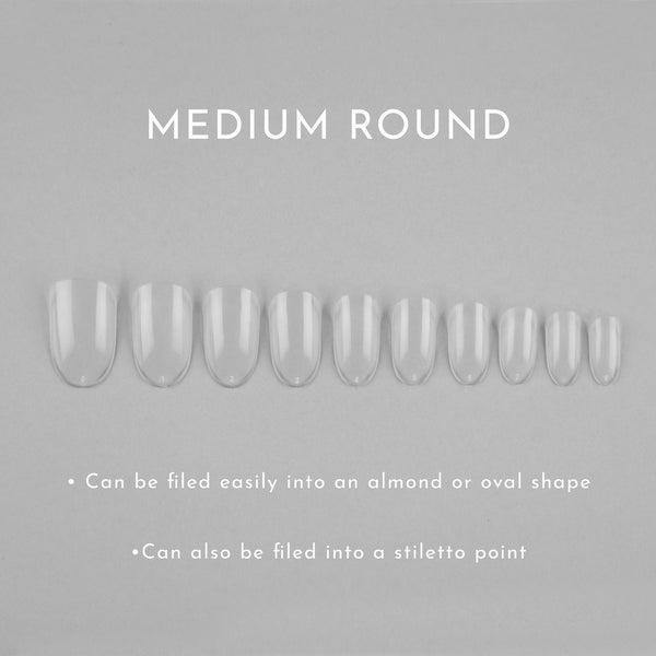Clear Whole Nail Tips | Medium Round