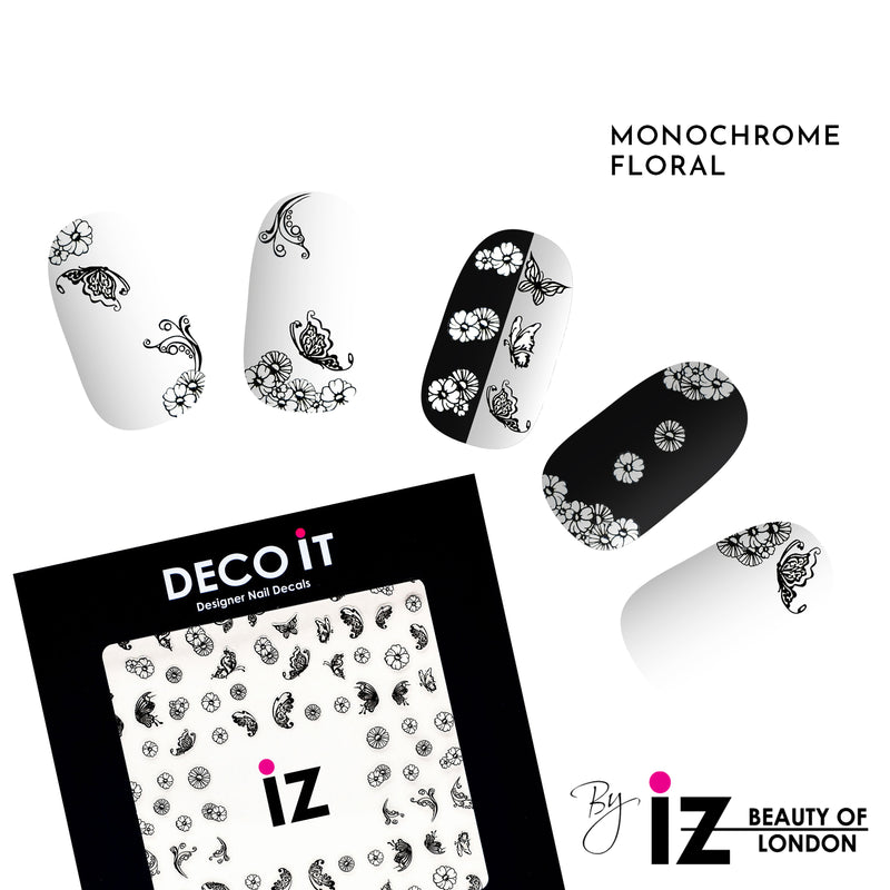 Monochrome Floral Nail Decals