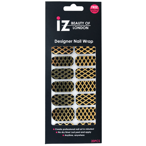 3D Black Diamond Honeycomb Nail Wraps