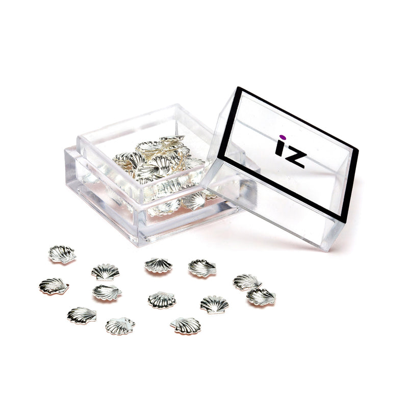 Medium Silver Shell Nail Gems 30pcs