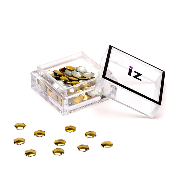 Gold Hexagon Nail Studs 40pcs