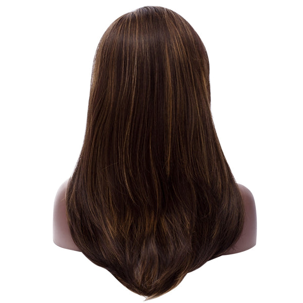 Long Side Natural Straight Synthetic Wig Color-mix - beauty-identity99
