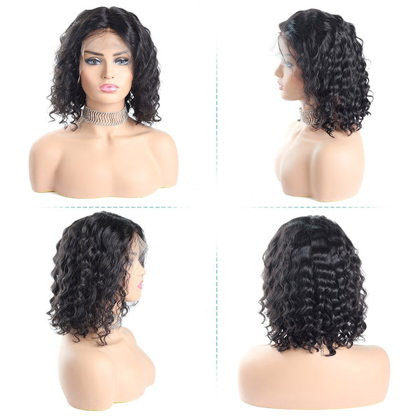 Short Bob Wig Brazilian Deep Wave Lace Front Human Hair With Baby Hair - beauty-identity99