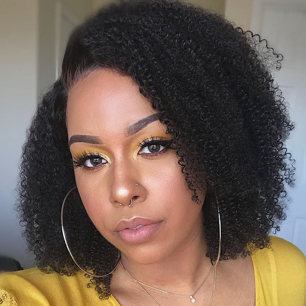 Brazilian Afro Kinky Curly 13x6 Short Bob Wig Pre Plucked with baby hair 250 Density - beauty-identity99