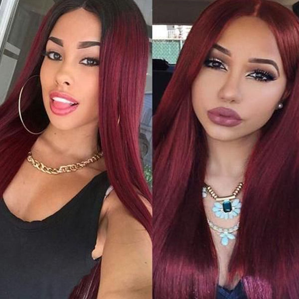 Red Ombre Brazilian Straight Lace Closure Wig - beauty-identity99