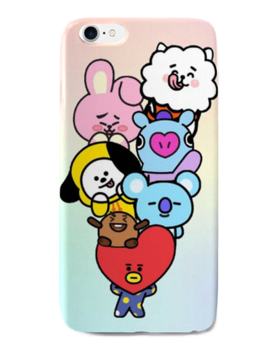 BTS   Silicone Phone Case For iPhone 8- Cute cartoon - K Pop Goods Pink House