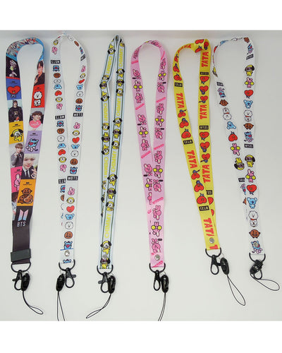 BTS BT21 CARTON LANYARD/NECK STRAP - K Pop Goods Pink House