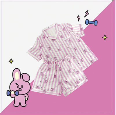 BTS - BT21 SUMMER SLEEPWEAR 2PIECE SET(unisex) - K Pop Goods Pink House