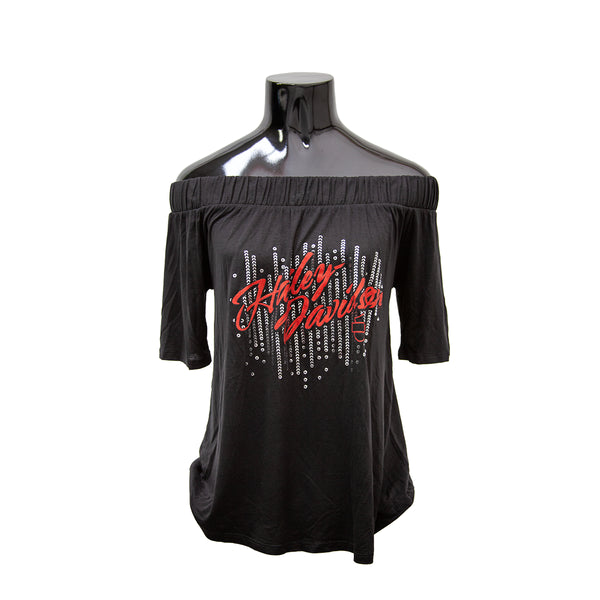 H-D® EXPECT SOMETHING MORE METALLIC OFF THE SHOULDER BLACK TOP