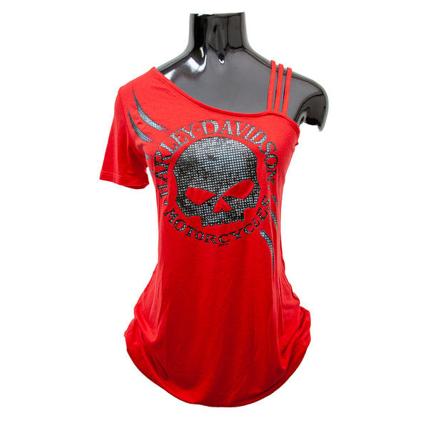 H-D® SEXY SKULL WILLIE G ONE SHOULDER RED SHORT SLEEVE TANK TOP