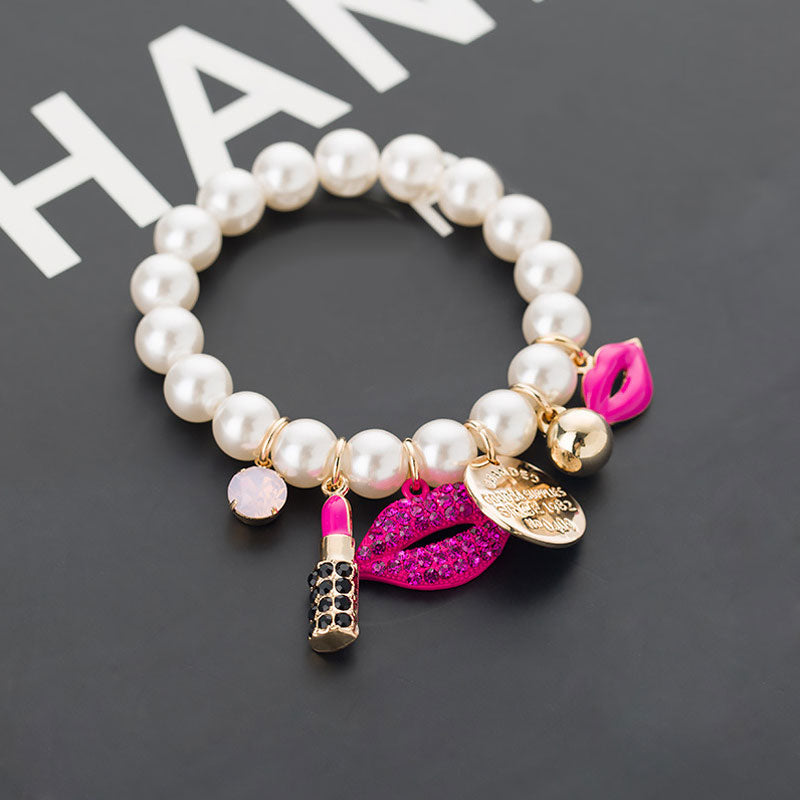 Super Stylish Lip Charm Pearl Bracelet