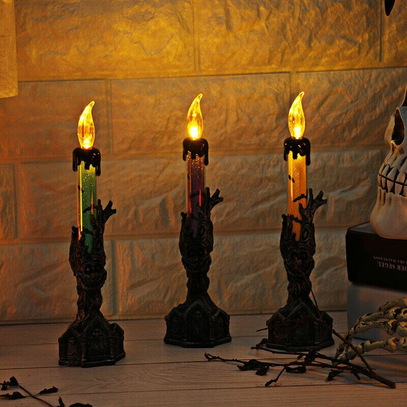 Skull Carving Candle Flame Light