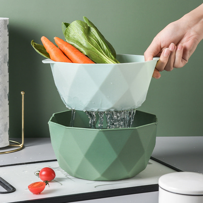Double-Layer Vegetable Sink Plastic Drain Basket