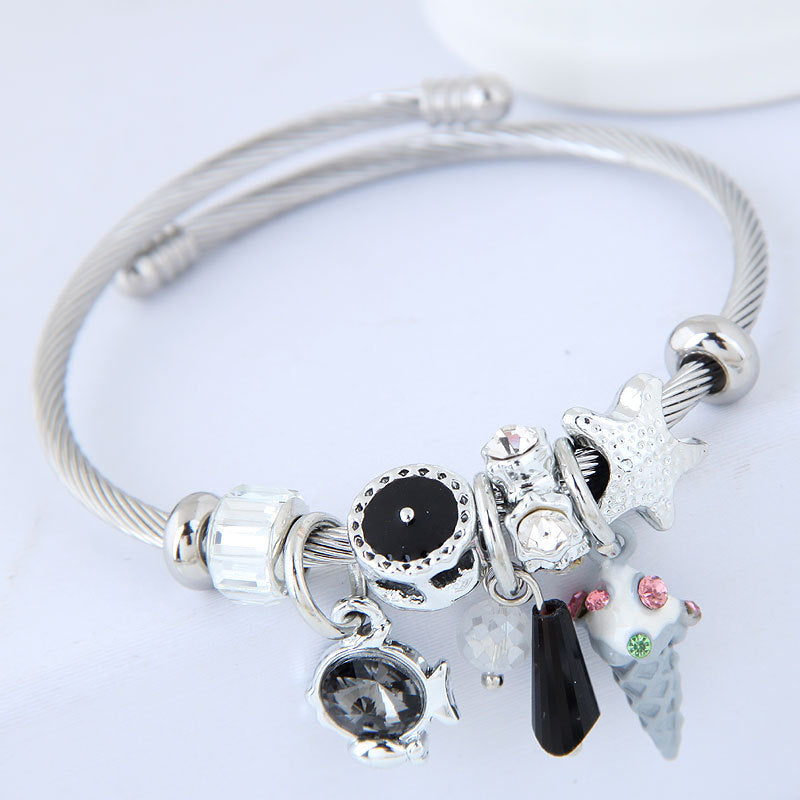 Sparking Yummy  Ice Cream Cone Dangle Charm Bracelet - 99Dolphins