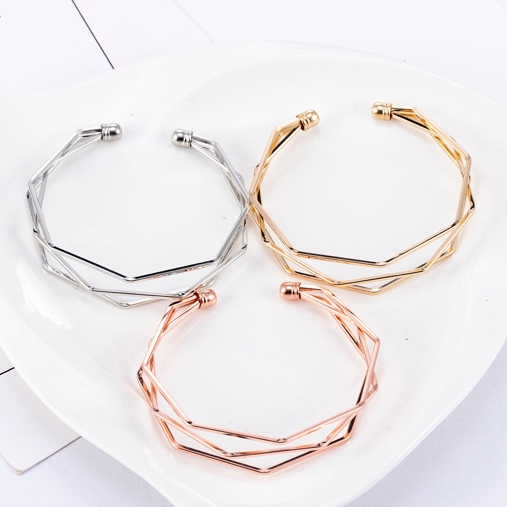 Three Layer Twisted Open Cuff Bangle Bracelet
