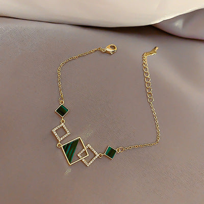 Fashionable Shiny Crystal Geometric Square Bracelet