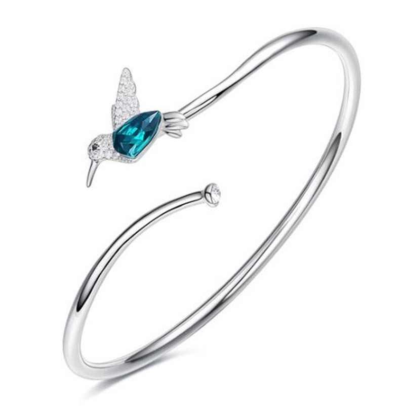 Shining Silver Flying Hummingbird Crystal Bracelet