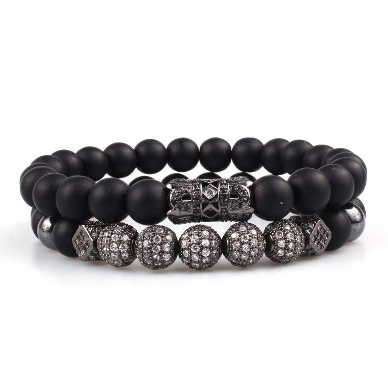 Volcanic Black Matte Lava Beads Bracelet With Micro-Inlaid Zircon Stones