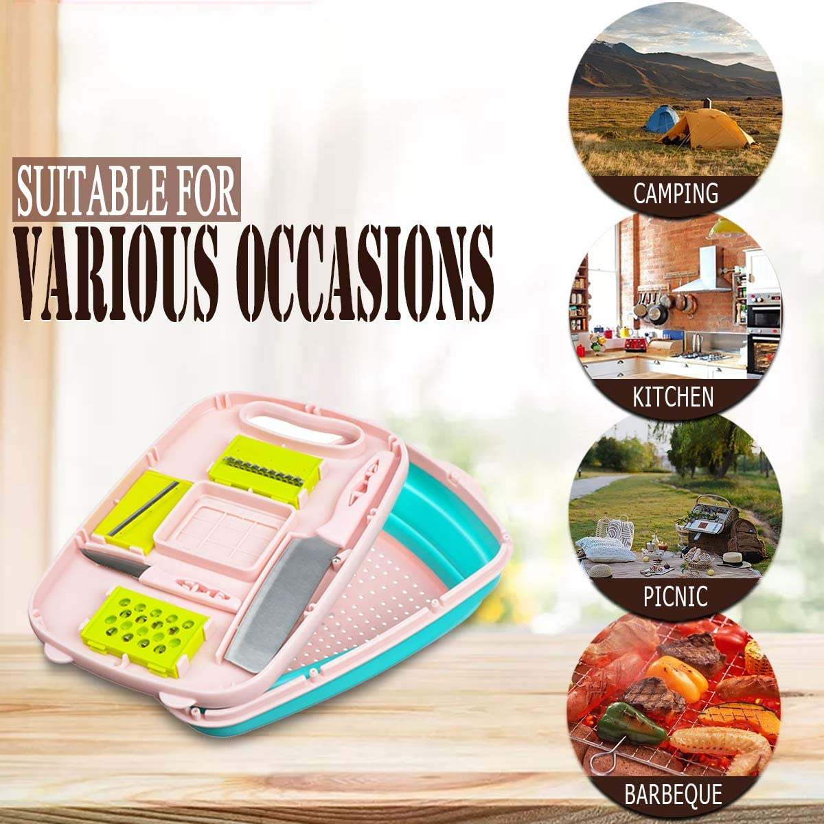 9 In 1 Foldable Multifunction Safe Cutting Board Set