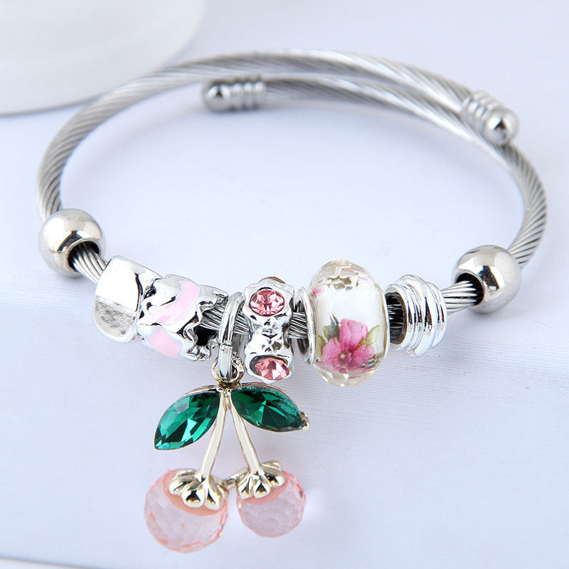 Colorful Cherry Crystal Fashion Charm Bracelet