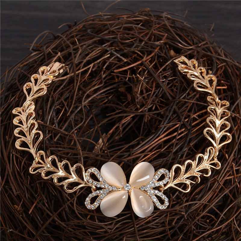 Beautiful Cat's Eye Opal Flower & Leaf Bracelet