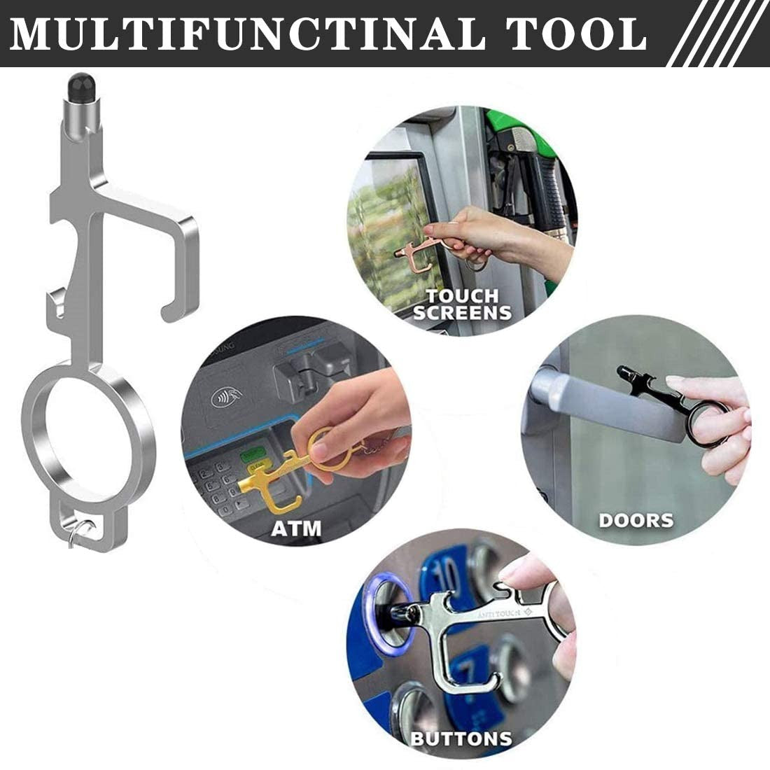 Contactless Protective Multi-Function Tool with Stretchable Carabiner Or Keychain