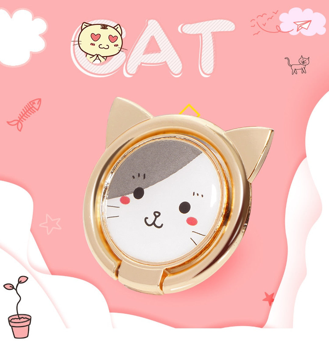 UVR Metal 360 Degree Rotation Cute Cat Finger Ring Bracket For Smart Phone