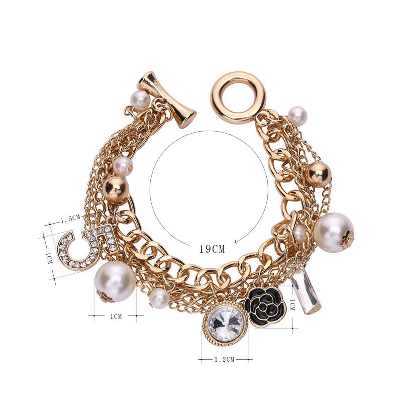 Multi-Layer Pearl Chain Bracelet With Number 5 Locket