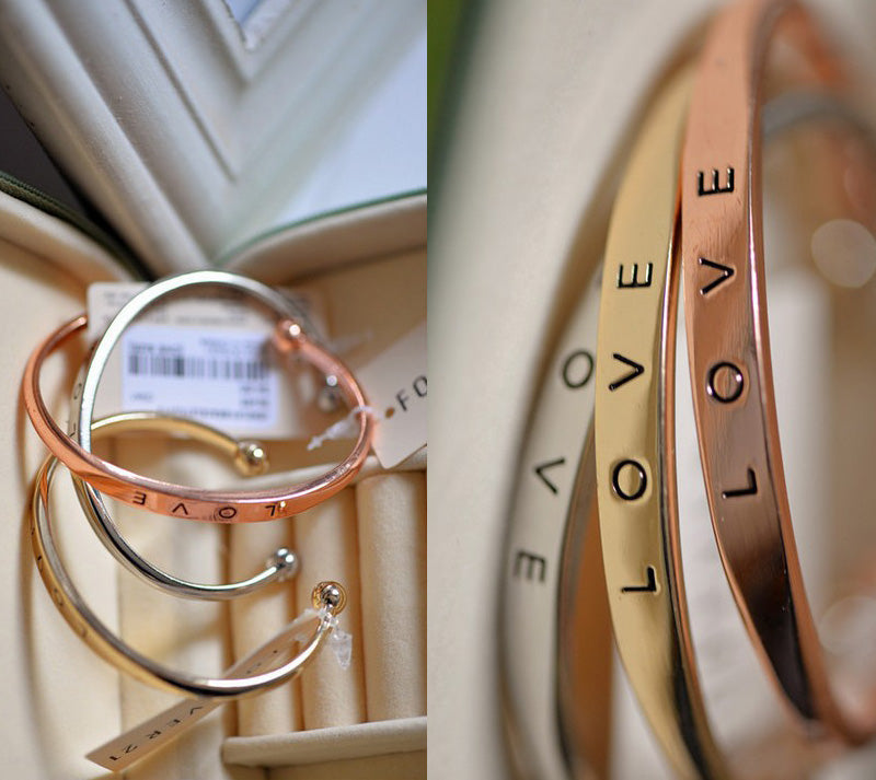 True Love Engraved Wrist Cuff Bracelet