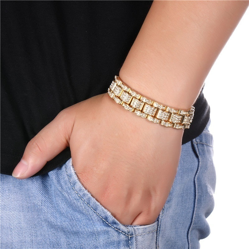 Hip-Hop Thick Chain Watchband Bracelet