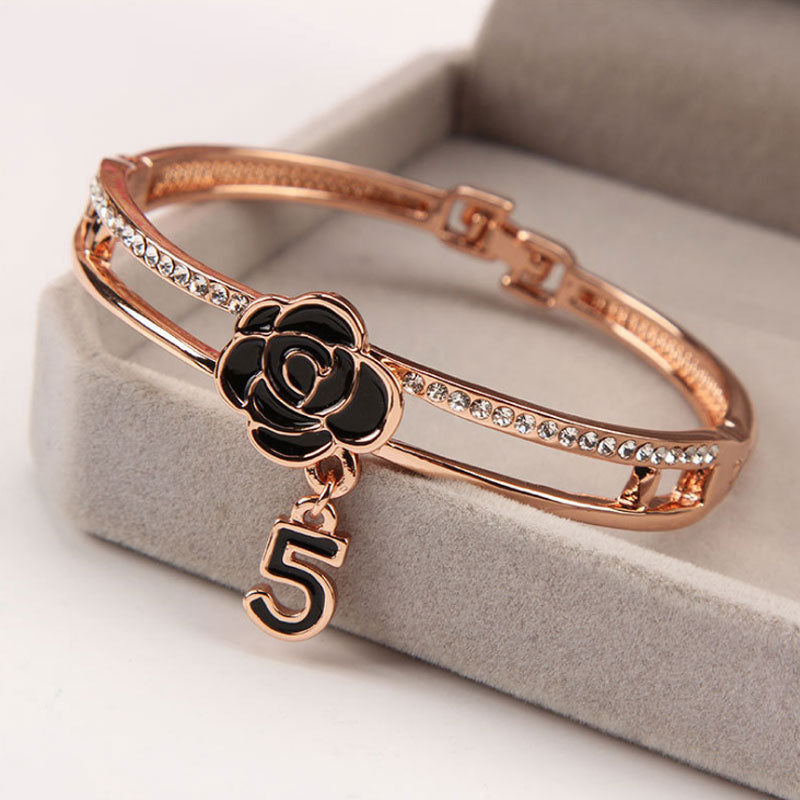 Retro 5 Dial Rose Bangle Bracelet