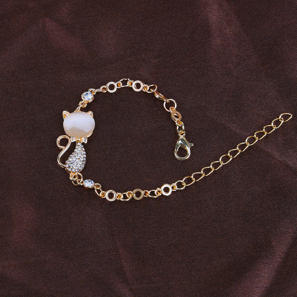 Compatible Cat-Kitty Lover Opal Crystal Bracelet