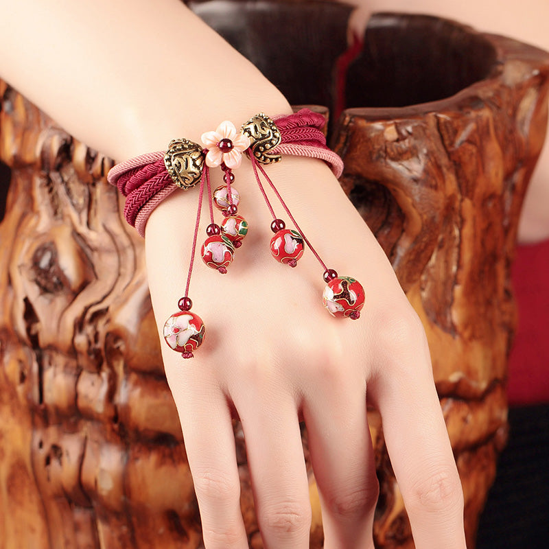 Antique & Ethnic Natural Bead Red String Thread Bracelet - 99Dolphins