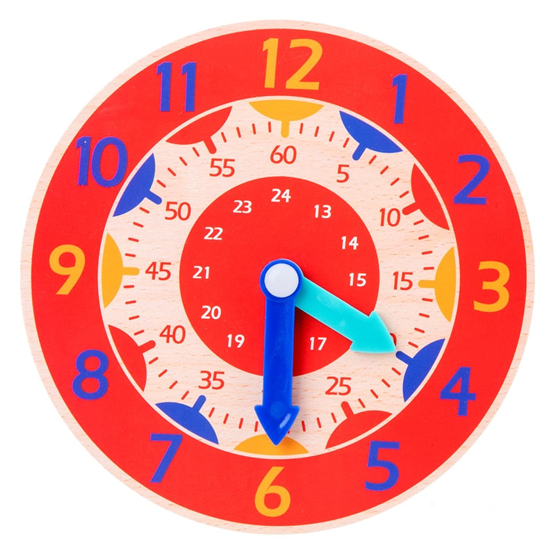Wooden Clock Toy - Kids Early Preschool Teaching