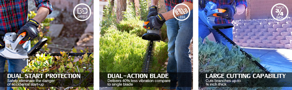 ukoke cordless electric garden hedge trimmer product features banner