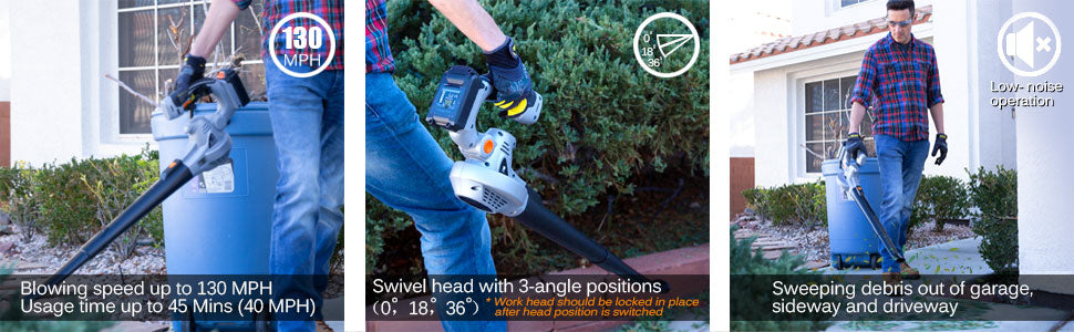 ukoke cordless electric garden leaf blower product features banner