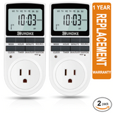 Ukoke 7-Day Digital Electrical Programmable Timer Outlet Switch Plug, Pack of 2