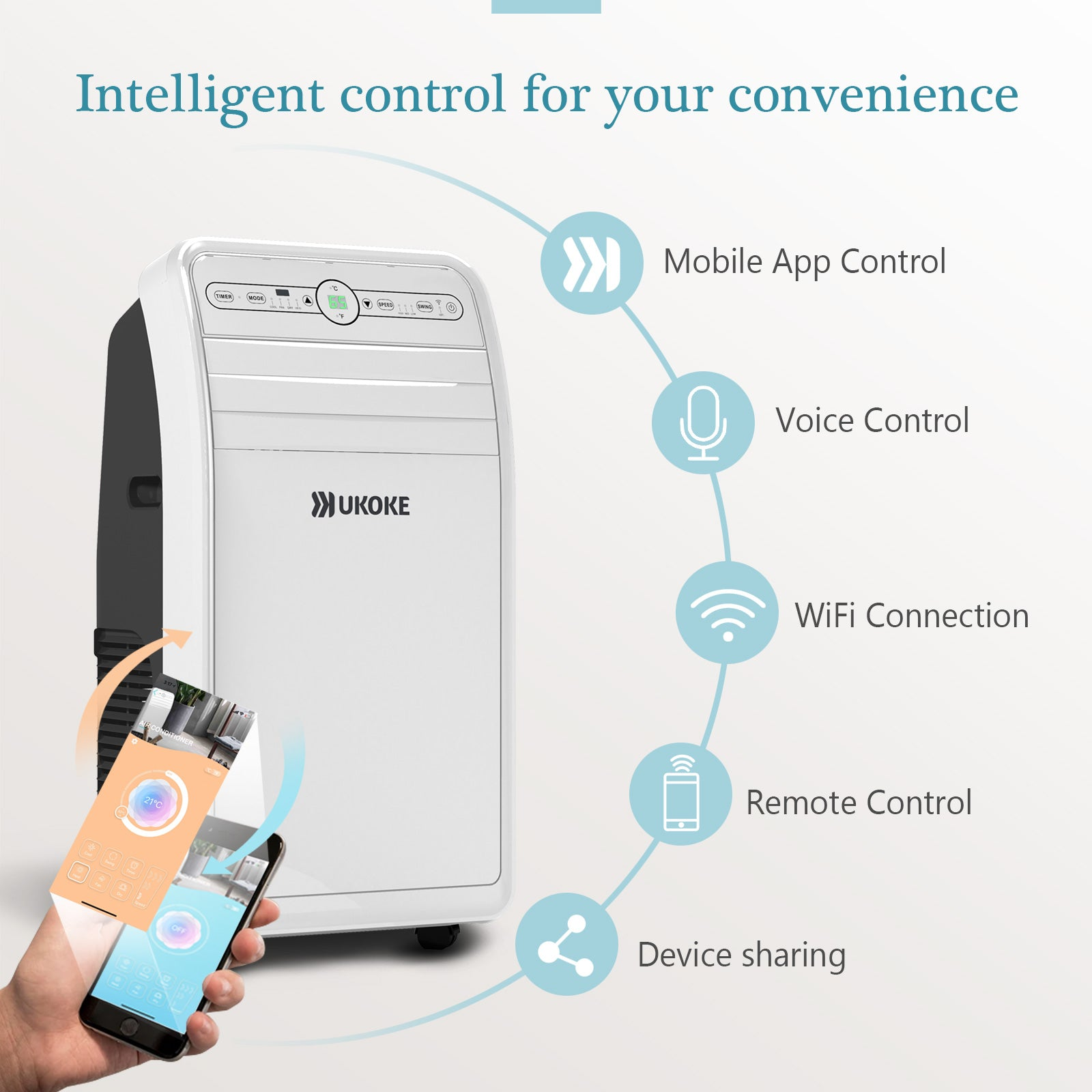 Ukoke USPC01W Smart Wifi Portable Air Conditioner, Works